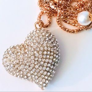 NEW! SWEETHEART CRYSTAL SWEATER NECKLACE IN GOLD